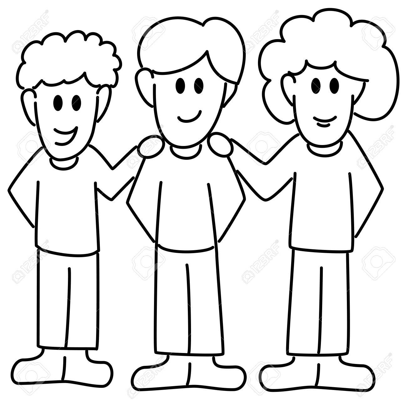 1300x1277 Vector Illustration Of Three Cartoon Friends Royalty Free Cliparts