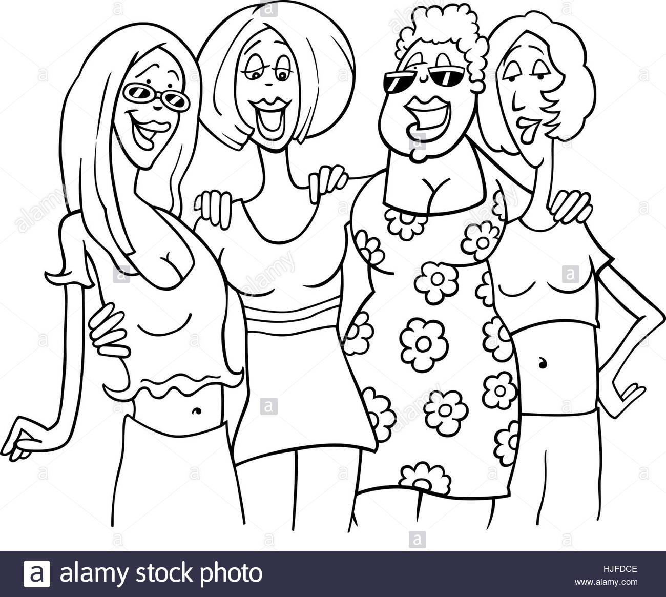1300x1165 Woman, Comic, Illustration, Cartoon, Group, Girl, Girls, Friends