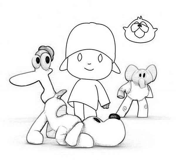 600x545 How To Draw Pocoyo And Friends Coloring Page Color Luna