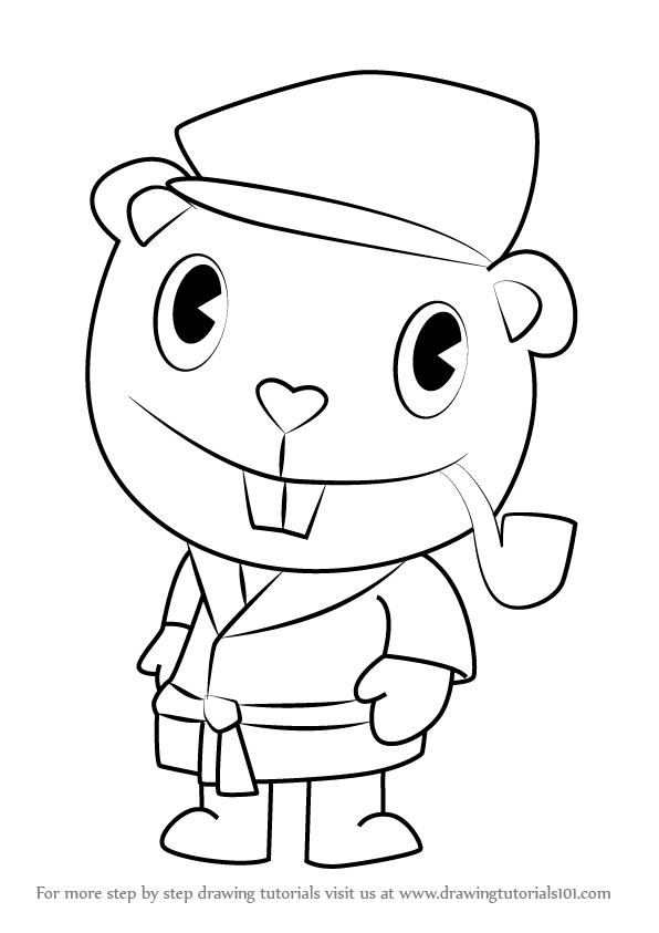 596x843 Learn How To Draw Pop From Happy Tree Friends (Happy Tree Friends