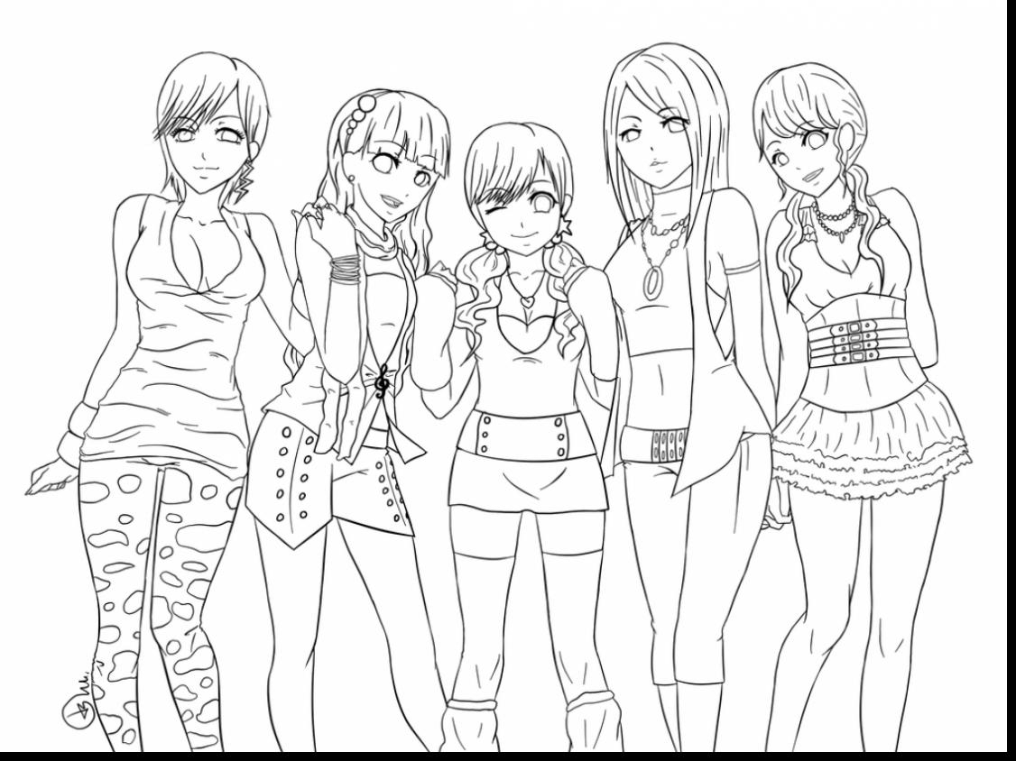 1126x844 Anime Friends Drawing Unbelievable Anime Girl Friends Coloring