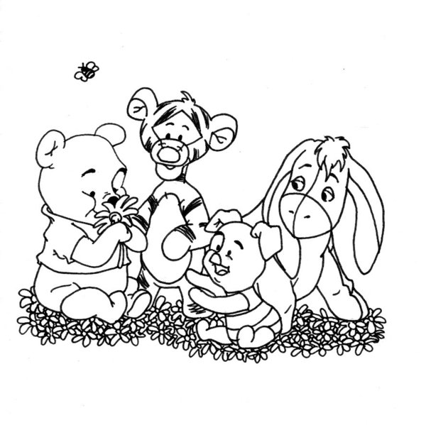 600x599 Baby Pooh And Friends Bw By Erikooriko