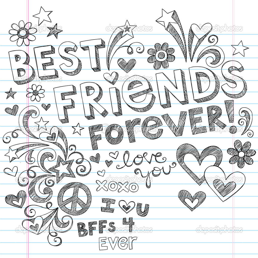 1024x1024 Beautiful Pencil Drawings Of Friendship Each Bff Color Element