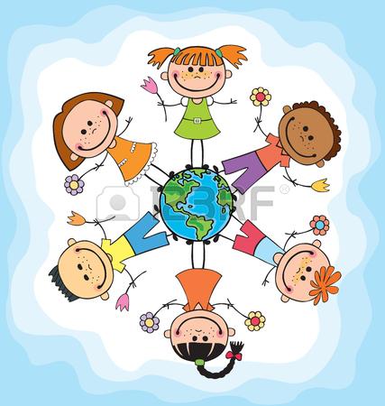 427x450 Globe Kids. International Friendship Day. Earth Day. Vector