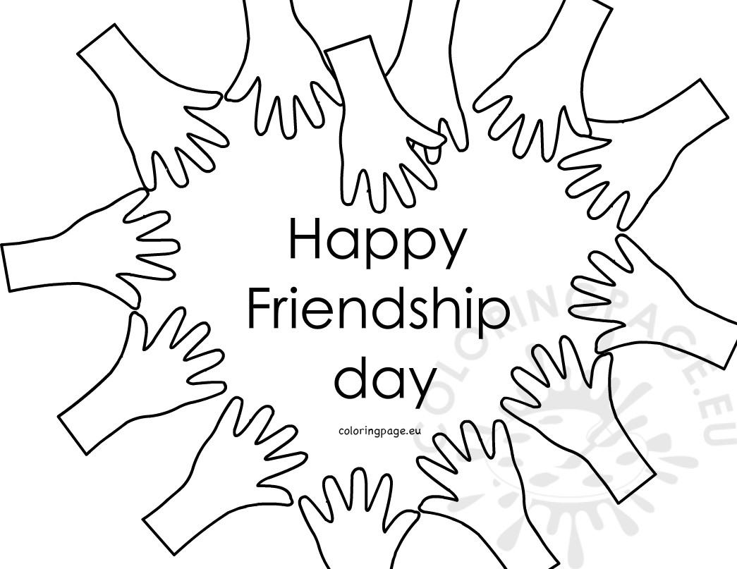 1045x807 Happy Friendship Day Hands Forming Heart Coloring Page