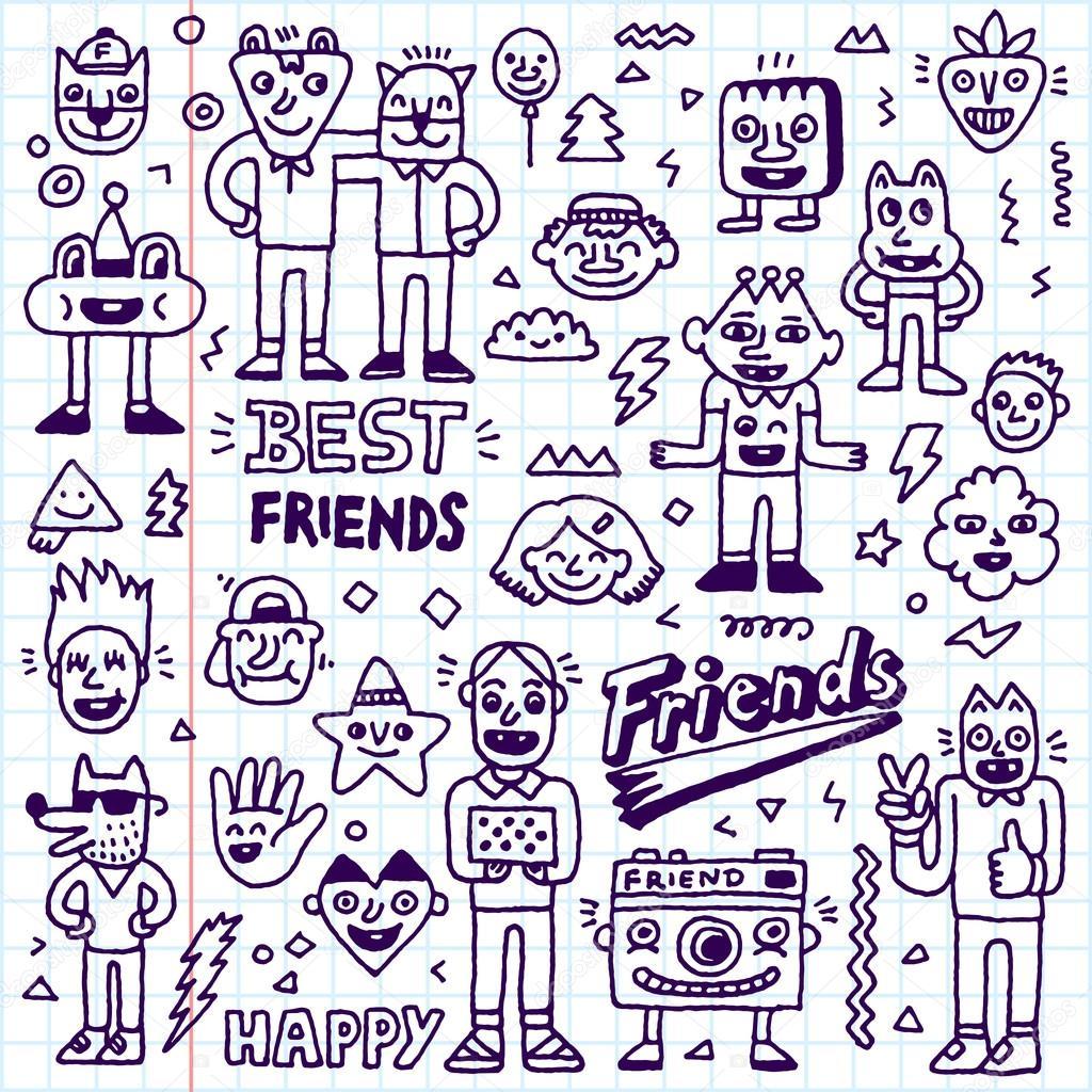 1024x1024 Happy Friendship Day Doodle Set Stock Vector Sashatigar