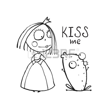 450x450 Princess And Prince Frog Portrait Coloring Page. Fun Childish