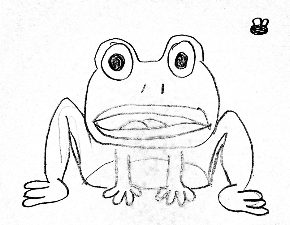 937x728 Cartoon Frog Drawing By A Kid. Black And White Comic Illustration