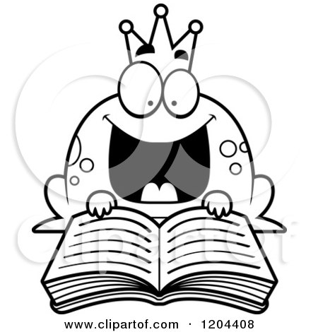 450x470 Cartoon Of A Black And White Excited Frog Prince Reading A Fairy