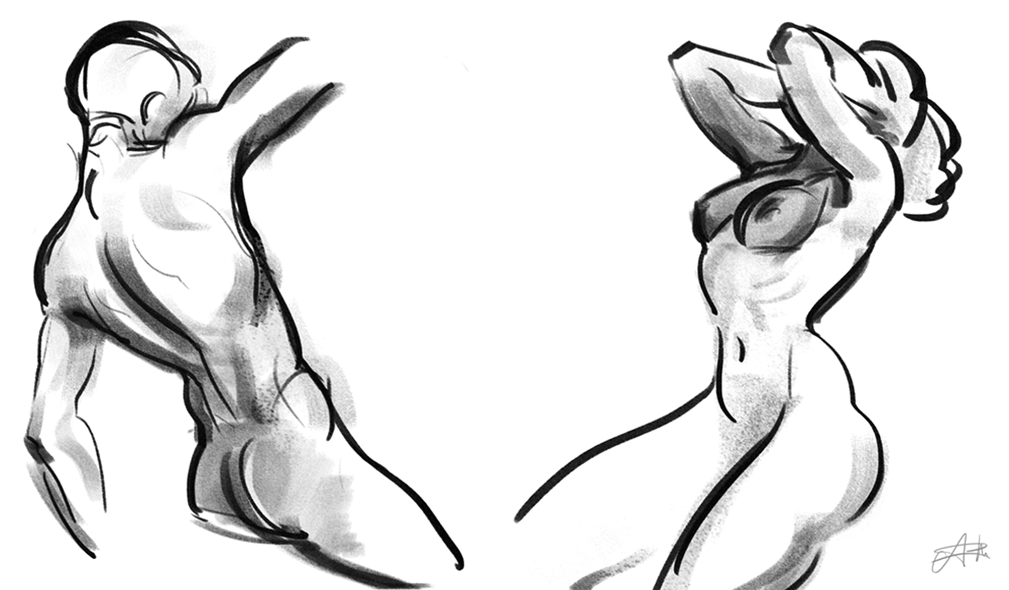 2000x1170 Random Anatomy Pose Sketches From Imagination By Arcroto