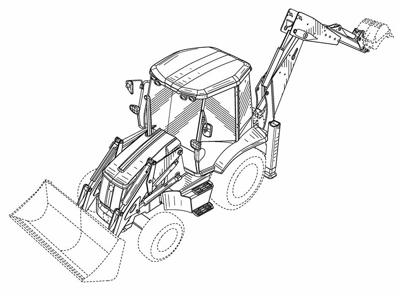 800x597 4wd 40hp Tractor With Front End Loader And Backhoe