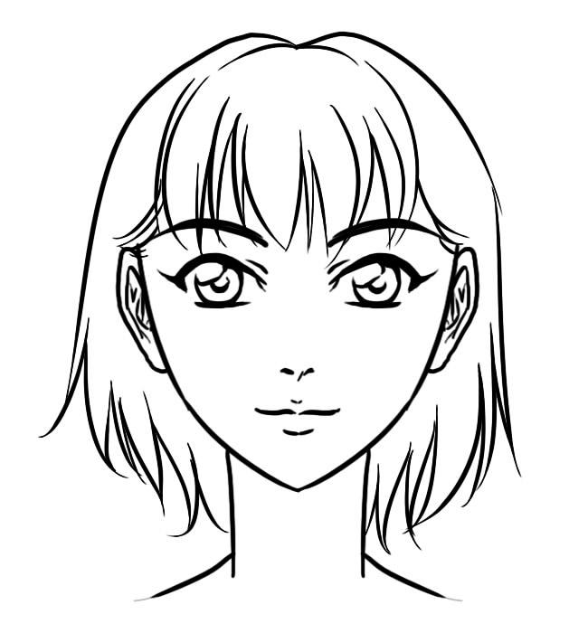 650x700 Manga Anime Face Front Drawingcoloring Pinterest