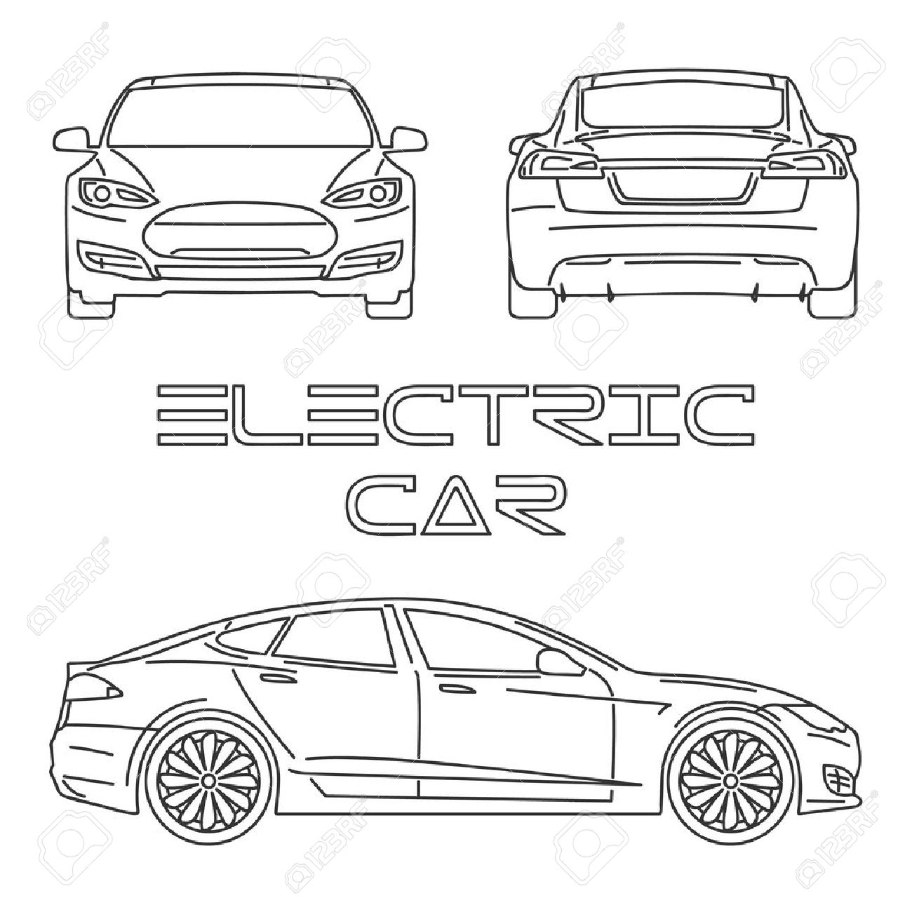 1300x1300 Silhouette Of Electric Car. Front View. Back View. Side View
