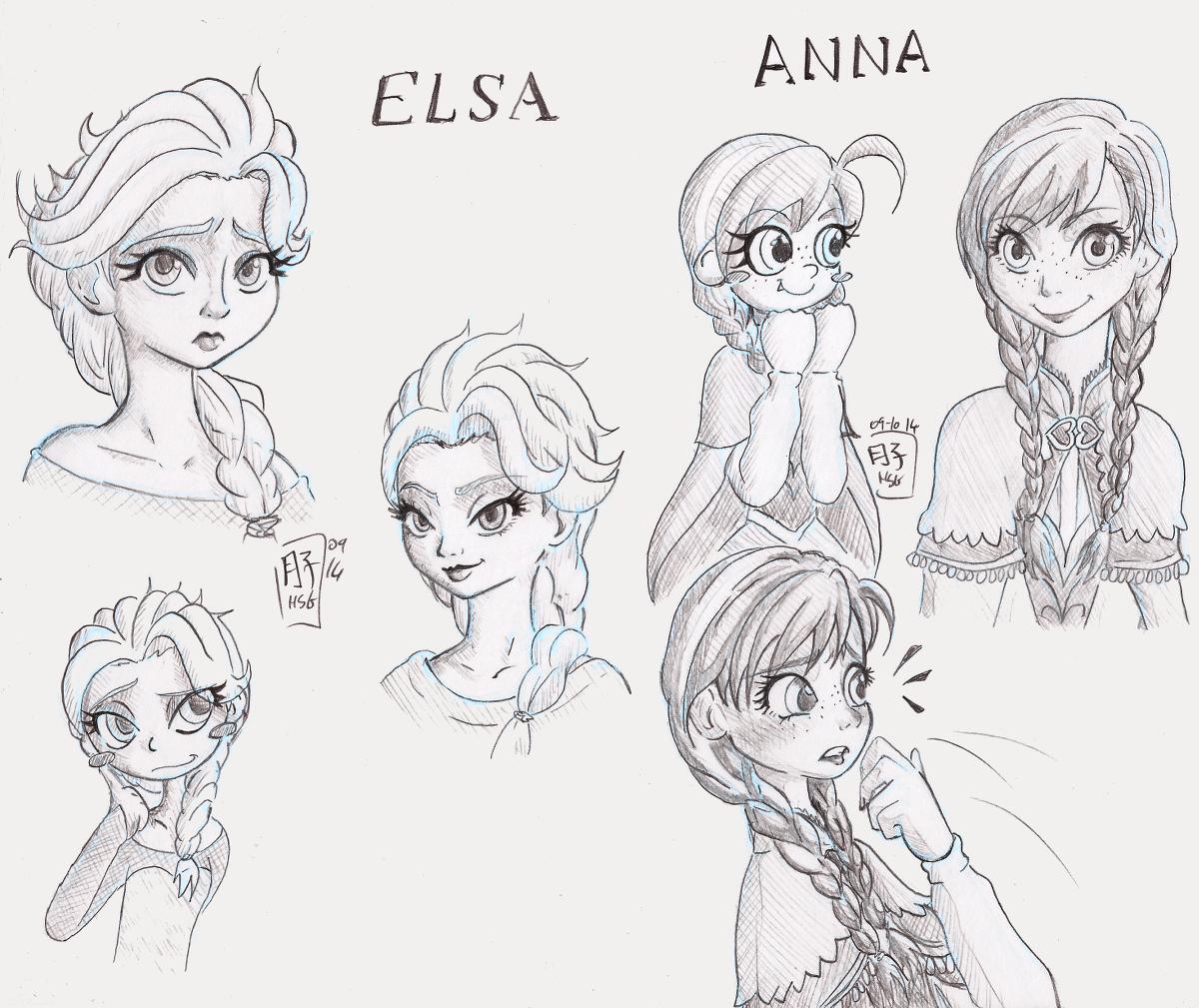 1200x1009 Frozen Elsa Anna Doodles By Tsukiko Chan