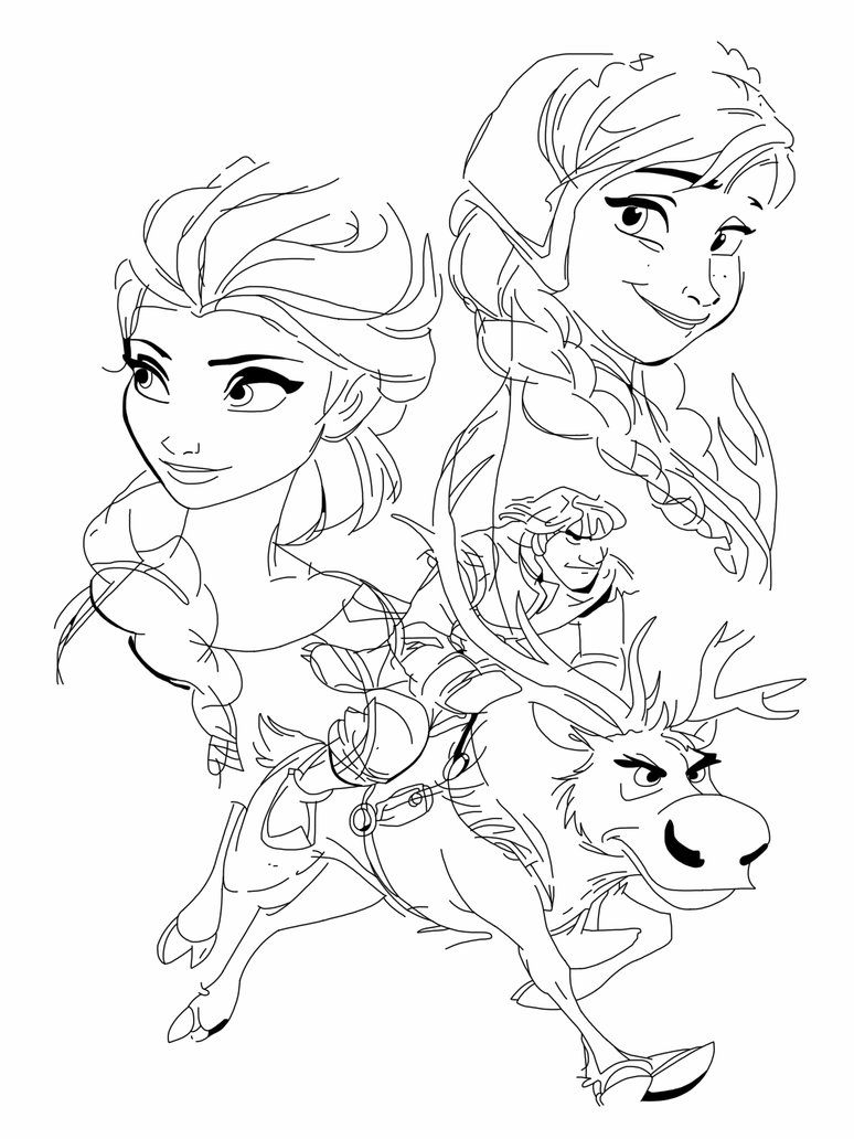 774x1032 Anna, Elsa, Kristoff And Sven By Spartandragon12 Disney Coloring