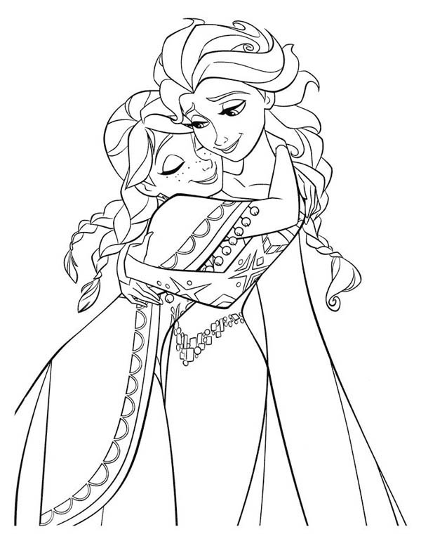 600x787 Anna Hugging Elsa The Snow Queen Coloring Page
