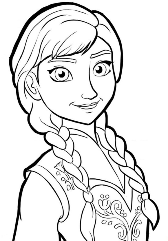 580x832 Anna Is Happy Free Coloring Page Disney, Frozen, Kids Coloring Pages