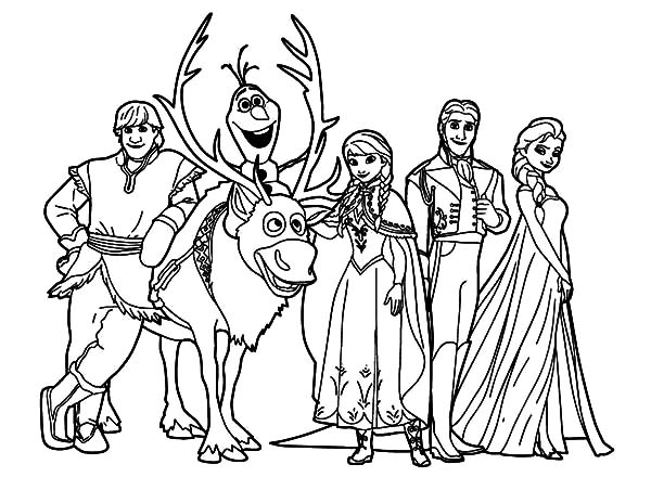 Frozen characters drawing at free for for Coloring pages for frozen characters