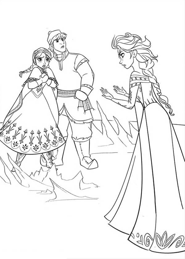 600x840 Anna And Kristoff In Arguing With Elsa Coloring Page