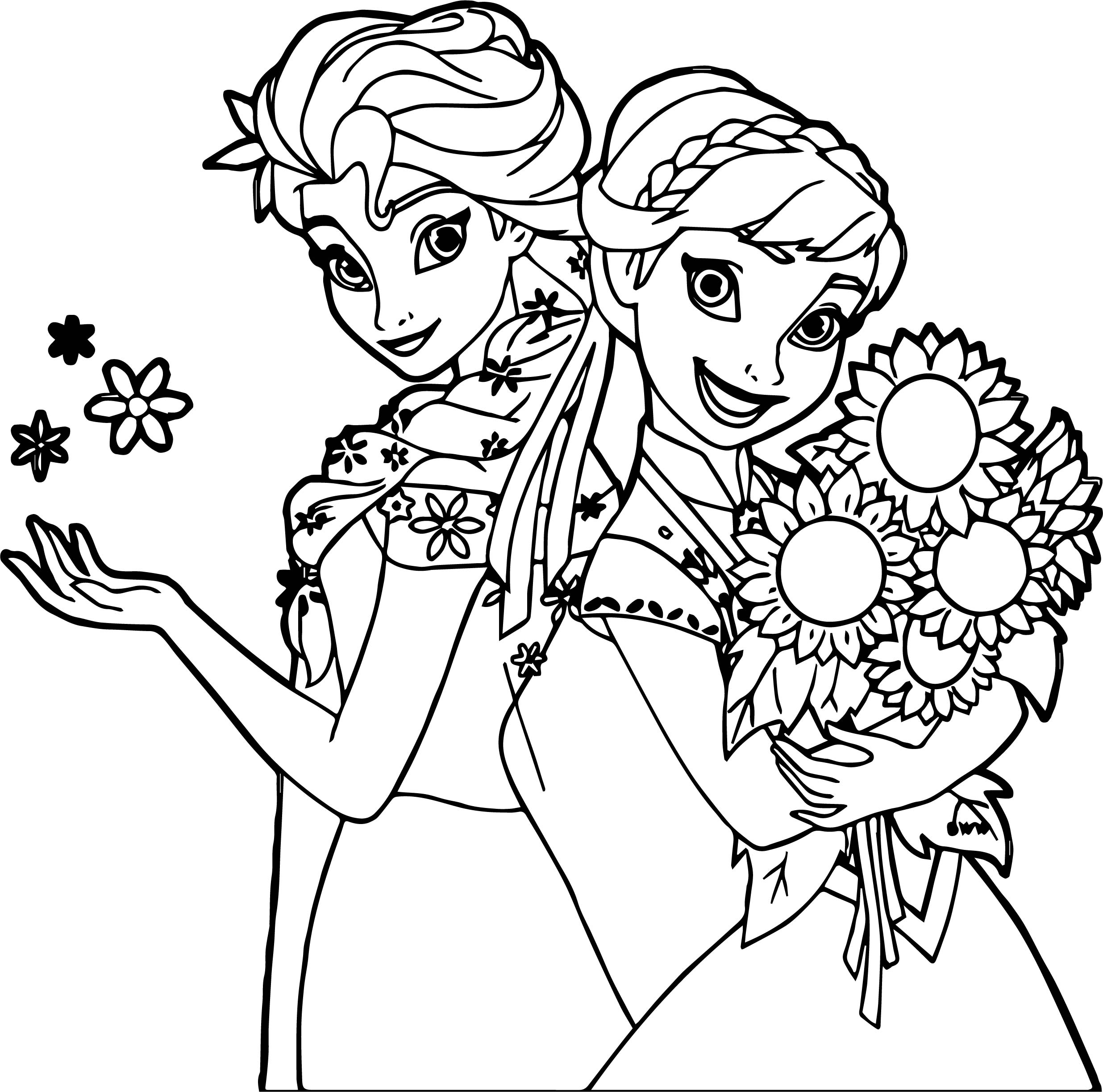 2471x2445 Frozen Fever And Anna Snow And Flower Coloring Page Wecoloringpage