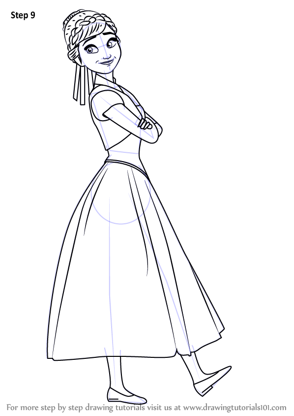 598x844 Learn How To Draw Anna From Frozen Fever (Frozen Fever) Step By
