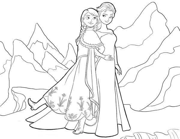 600x464 anna and elsa standing side by side coloring page