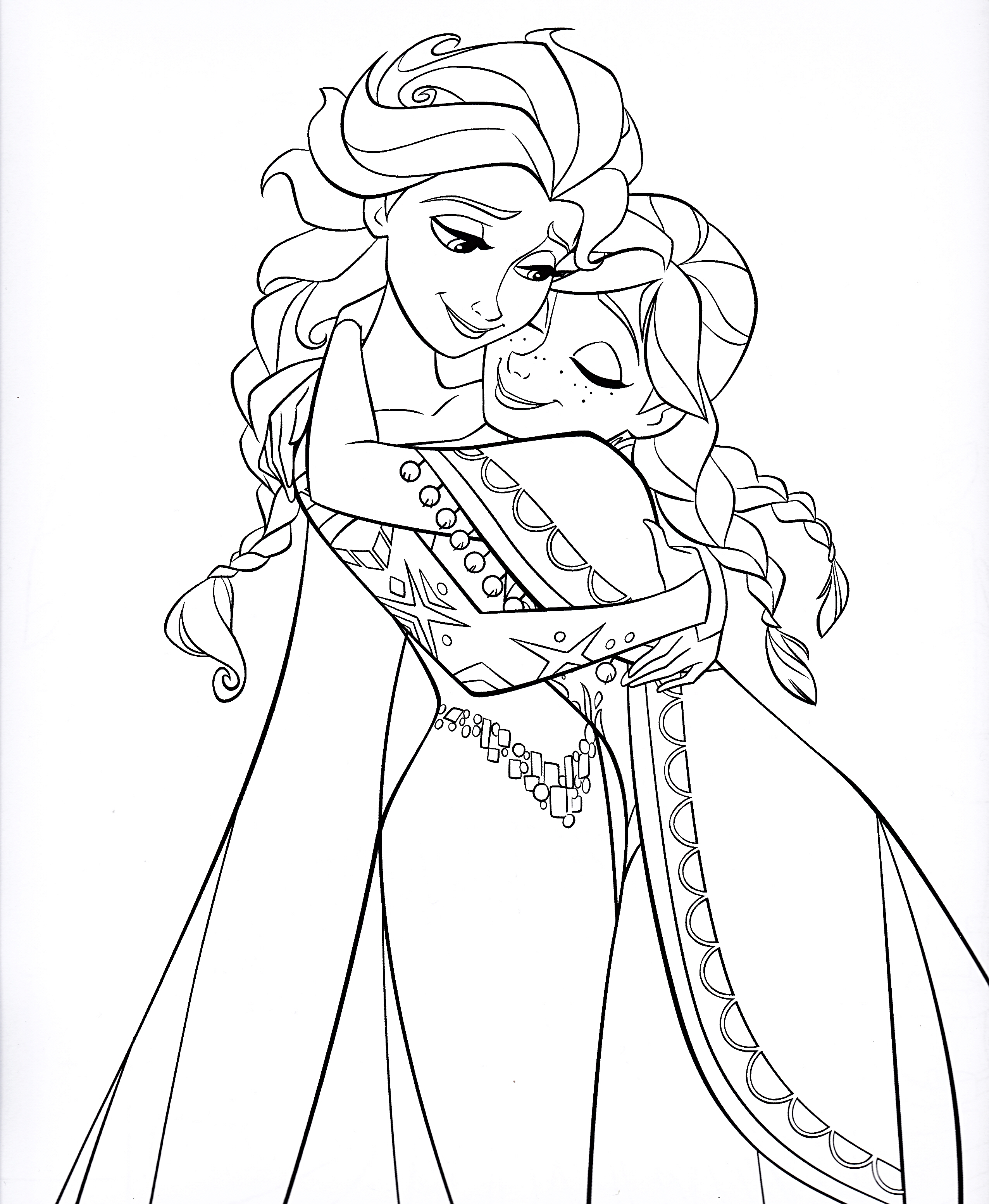 2552x3104 Elsa And Anna Free Coloring Page Disney, Frozen, Kids, Movies
