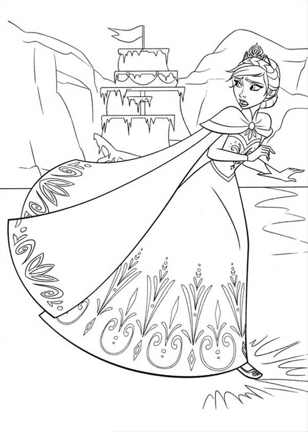 600x840 Elsa Running On The Frozen Lake Coloring Page