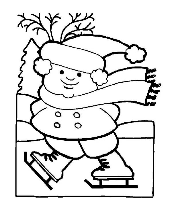 600x729 Fat Little Girl Playing Ice Skates On Frozen Winter Lake Coloring