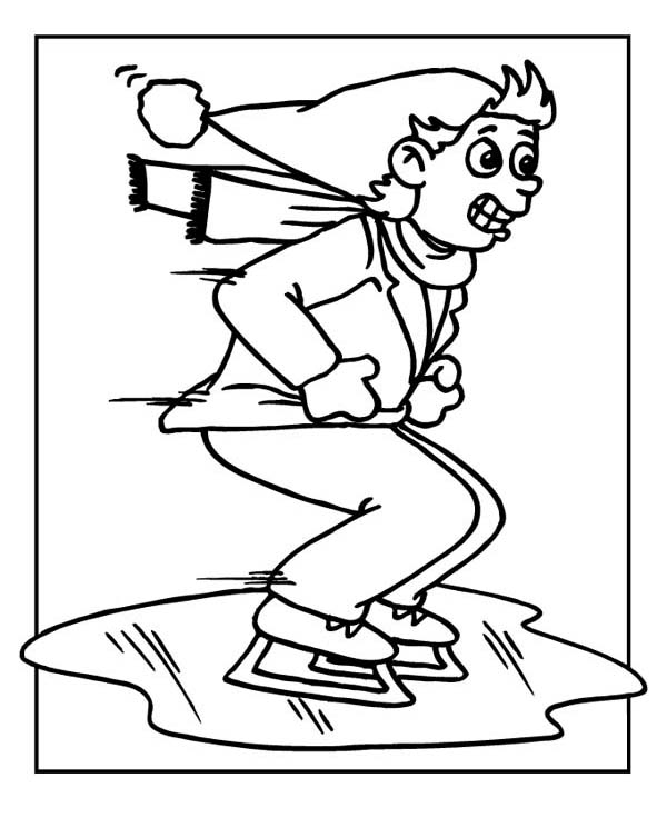 600x736 Ice Skating On Frozen Lake Coloring Page