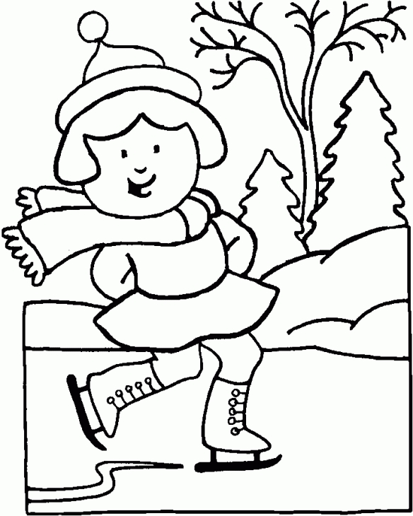 584x730 A Girl Happily Ice Skating On Frozen Lake In Winter Coloring Page