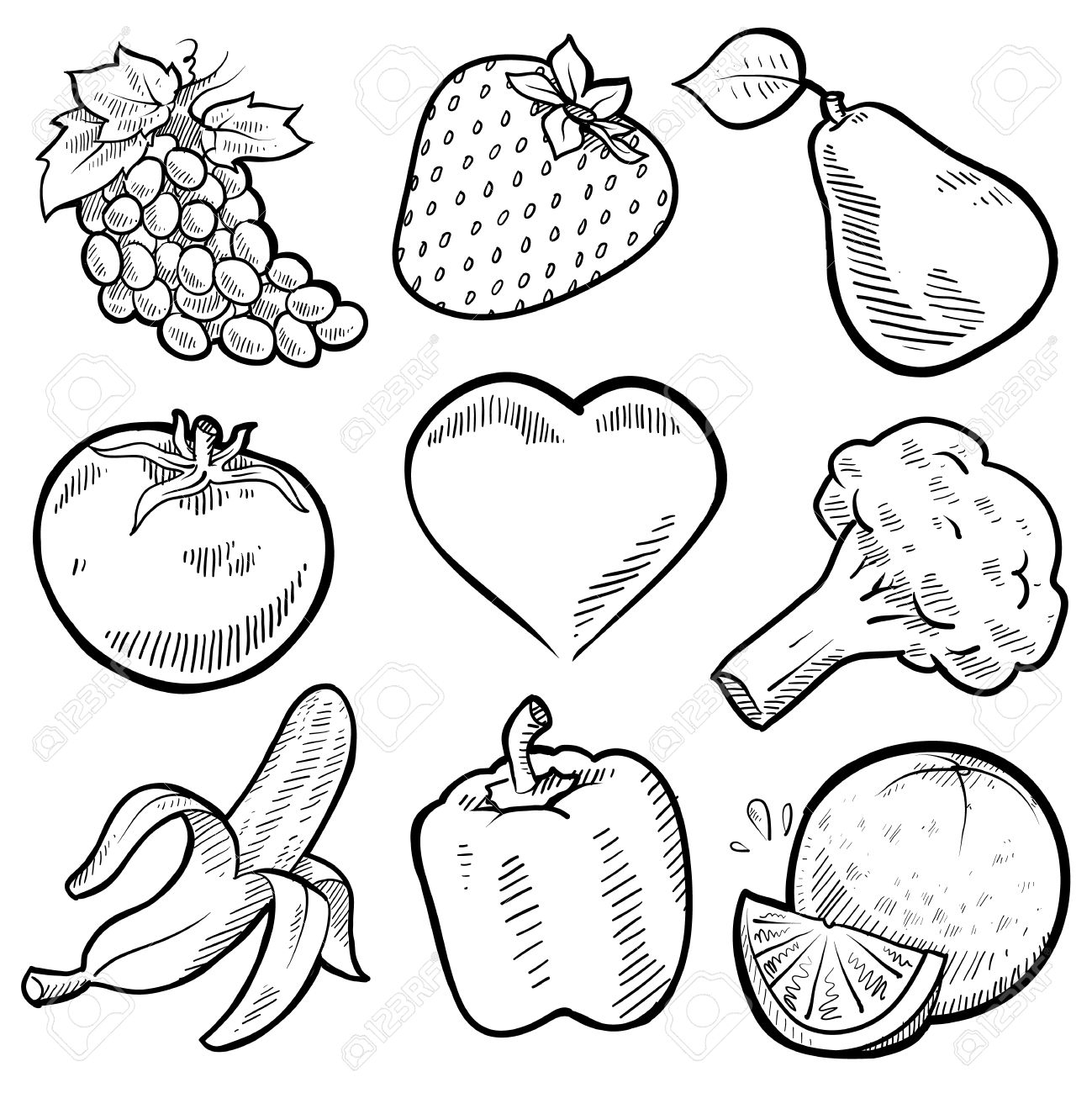 1299x1300 Drawing Of Fruits Vegetables Doodle Style Healthy Fruits
