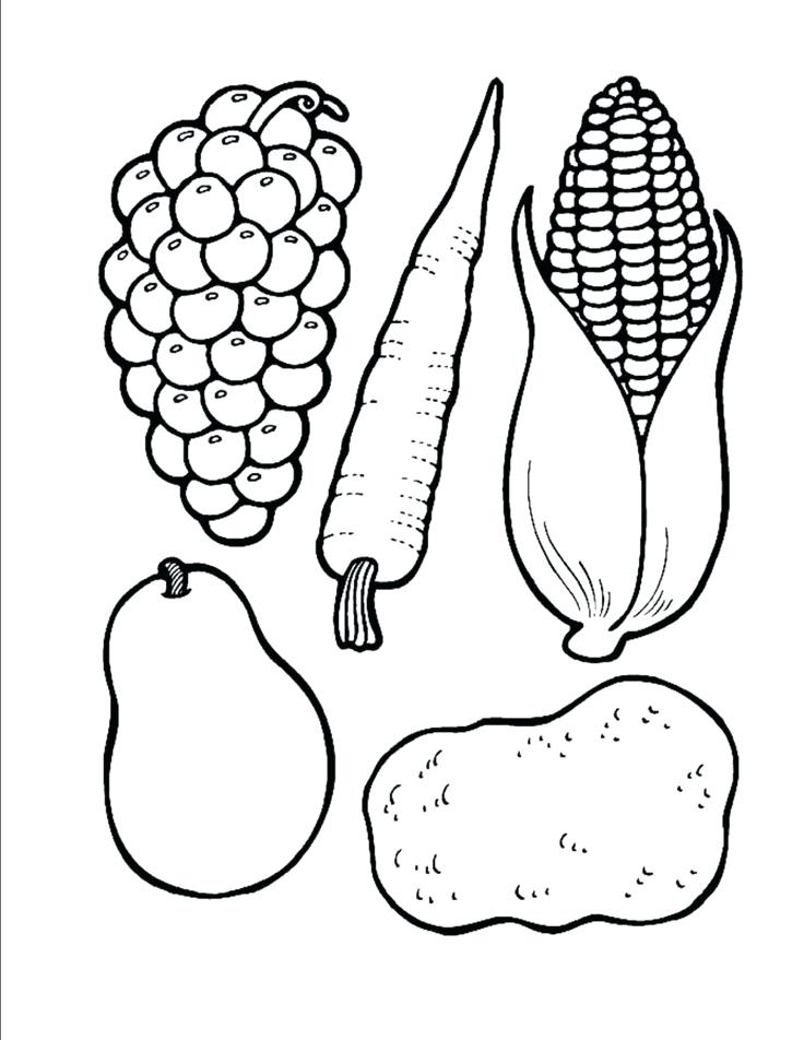 736x952 Fruit And Vegetable Coloring Pages Free Fruits And Vegetables