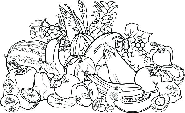 600x366 Fruits Vegetables Coloring Pages Harvests Fruits
