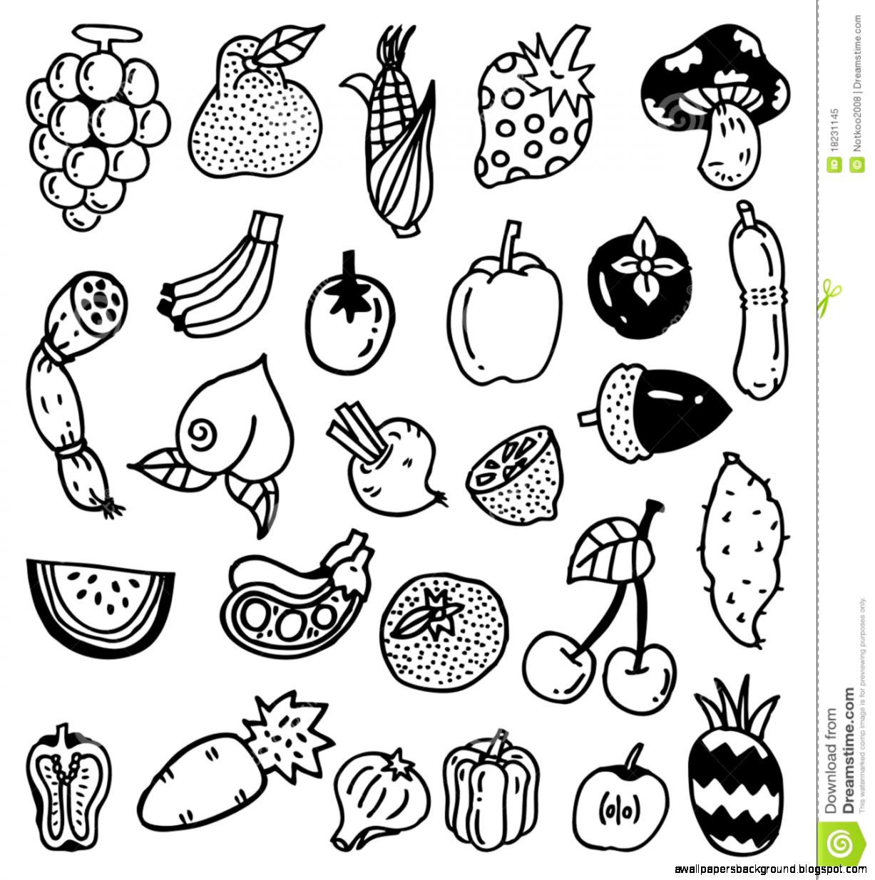 1227x1235 Fruits And Vegetables Drawing Wallpapers Background
