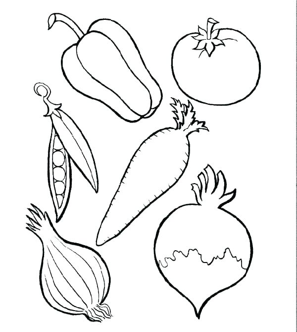 600x669 Fruits And Veggies Coloring Pages For Fruit Drawings To Color