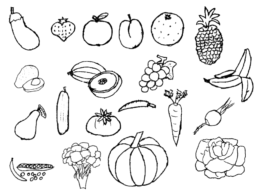 848x637 Png Vegetables And Fruits Black And White Transparent Vegetables