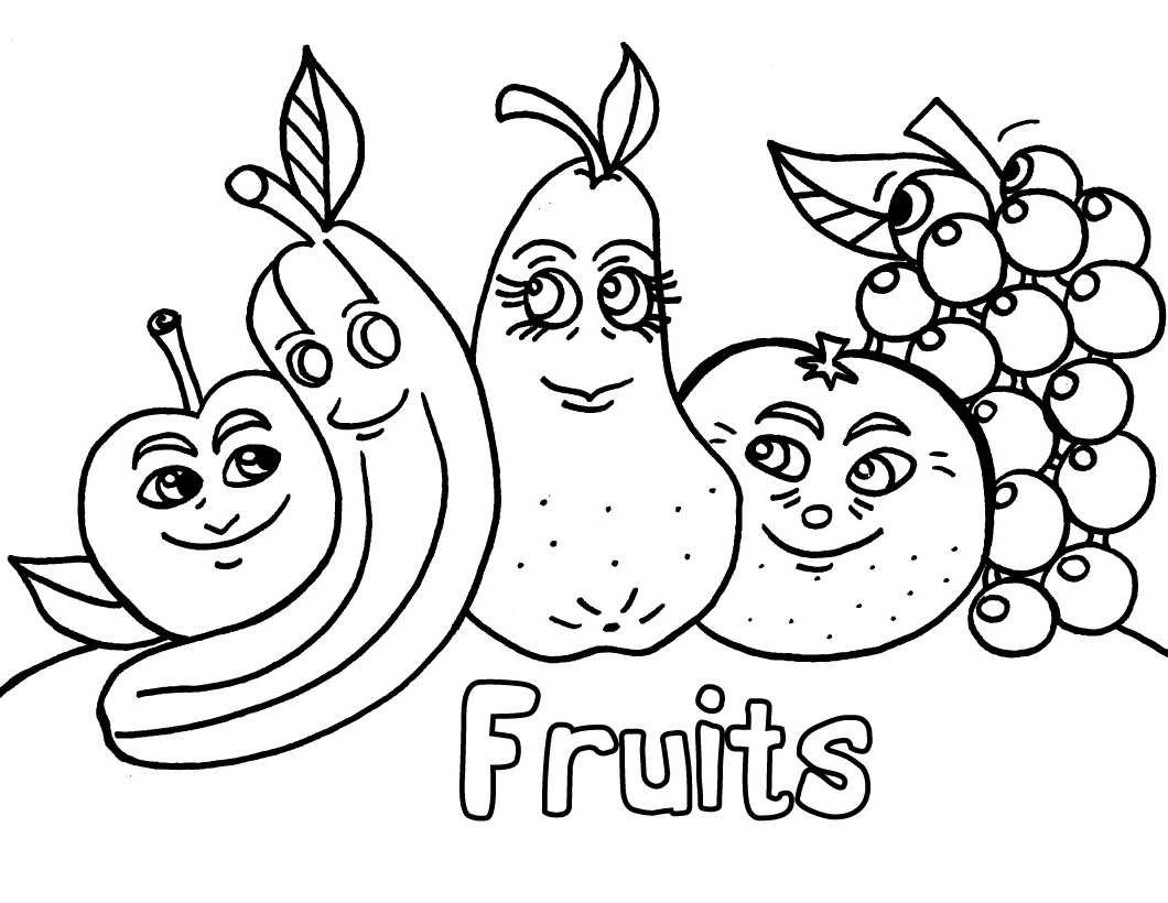 1060x820 Fruits And Vegetables Coloring Pages For Kids Printable To Pretty