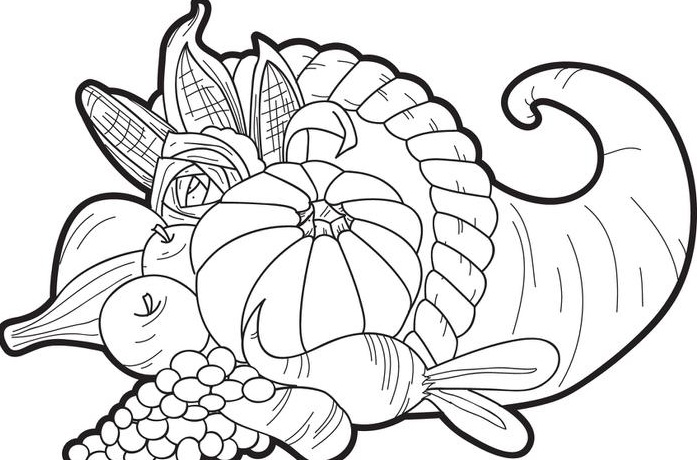 697x460 Basket Of Fruit Coloring Pages For Thanksgiving Baby Looney Tunes