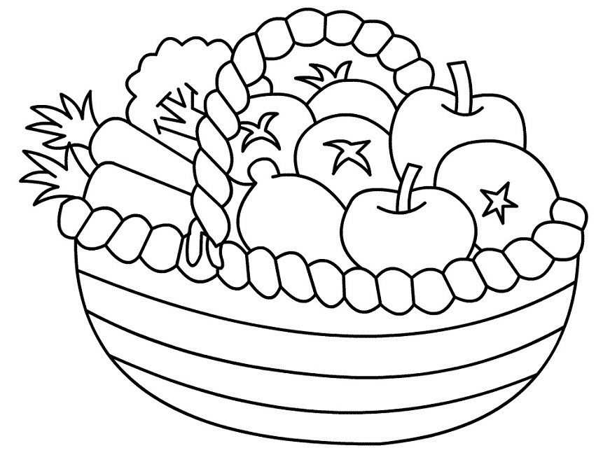 861x650 Coloring Page Of Fruit Basket Food Pinterest