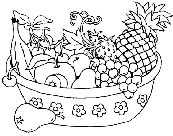 564x443 Free Printable Fruit Basket Coloring Pages Coloring Page For Kids