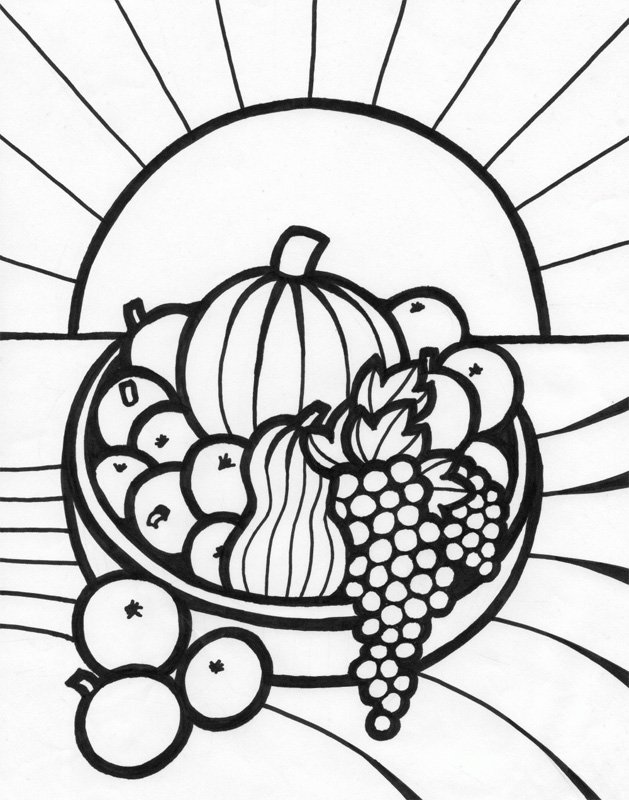 629x800 Fruit Basket Coloring Page 454817