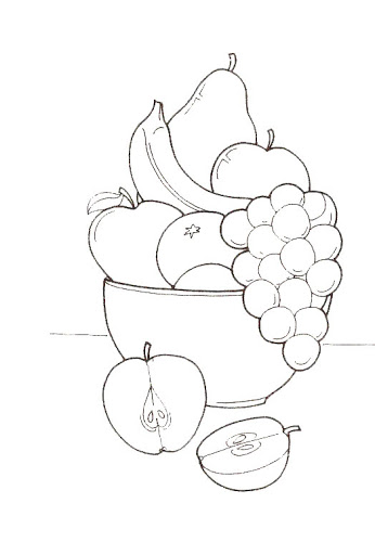 346x500 Fruits Basket Coloring Pages