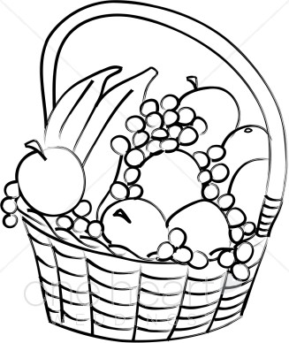 327x388 Black And White Fruit Basket Clipart Wedding Picnic Clipart