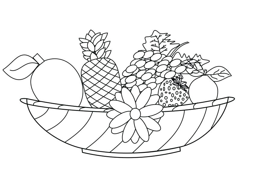 857x607 Fruit Basket Coloring Pages Food Coloring Pages Fruit Bowl Free