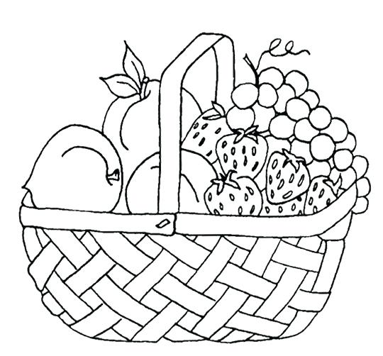 540x502 Fruit Basket Coloring Pages Vegetables Basket Coloring Pages Free