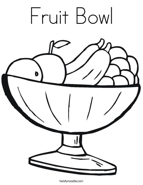 468x605 Fruit Bowl Coloring Page