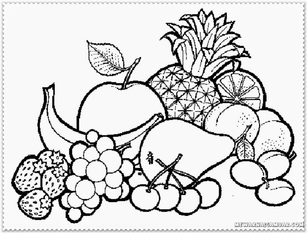 1066x810 Coloring Pages Of Fruit Bowl A Bowl Of Fruits Coloring Page