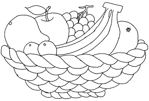 500x340 Fruit Bowl Coloring Sheets Coloring Pages