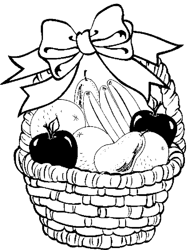 675x879 Fruit Basket Coloring Page Free Download